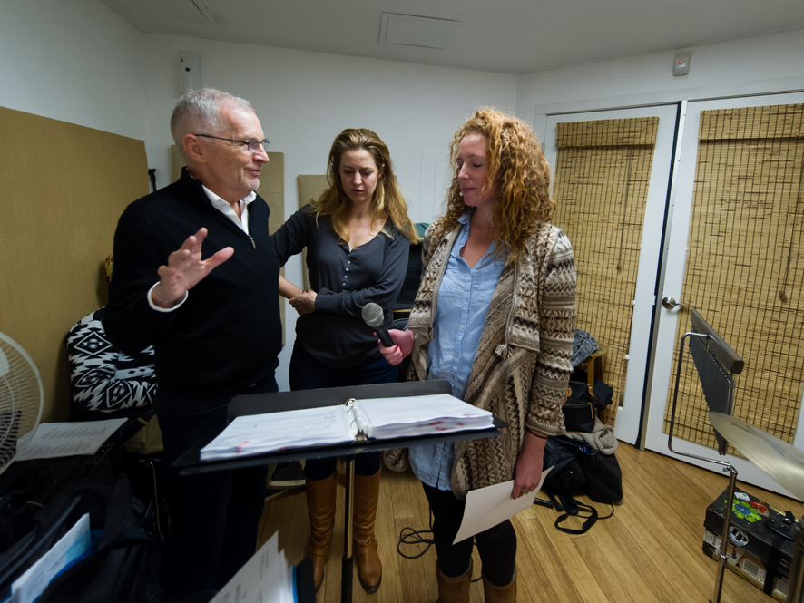 """Minda Larsen and Marissa Mulder rehearsing for Rob's show """"You're The One"""", Jan 14, 2015 at The Metropolitan Room."""