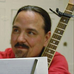 Steve Bustamante in rehearsal with Rob Davis for his show